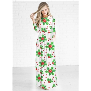 Christmas Decoration Print Round Neck Long Sleeve Maxi Dress