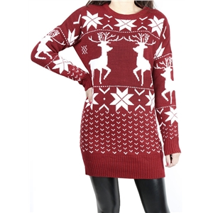 Christmas Round Neck Long Sleeve Pullover Deer Sweater