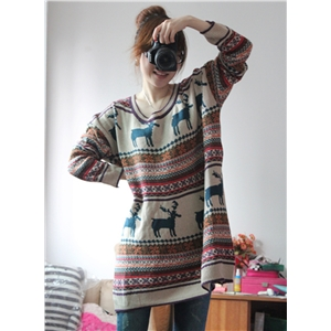 Christmas Deerlet Long Sleeve Pullover Sweater