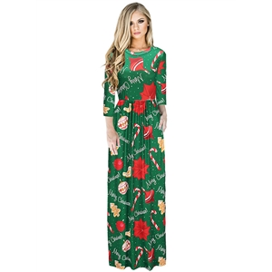 Christmas Style Print 3/4 Sleeve Maxi Dress