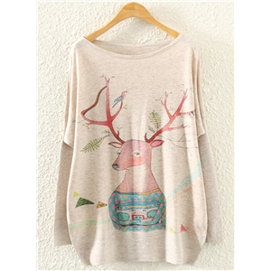 Womens Christmas Pullover Patteren Round Neck Sweater