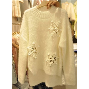 Christmas Beading High Low Loose Sweater