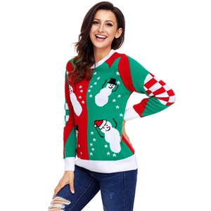 Christmas Long Sleeve Color Block Knit Sweater