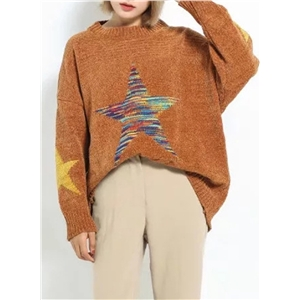 Christmas Star Printed Loose Fit Knit Sweater