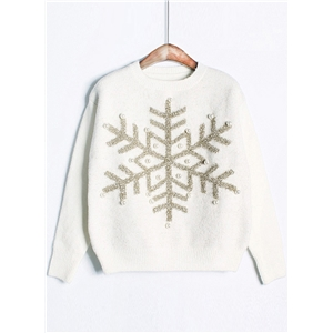 Fashion Christmas Snow Pearls Pullover Sweater
