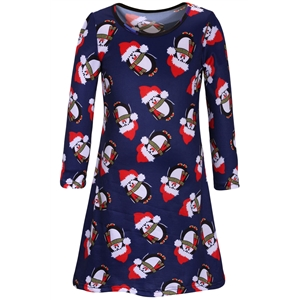 Christmas Cartoon Penguin Pattern Round Neck Dress