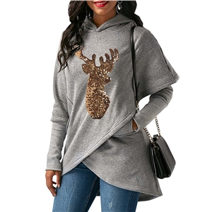 Long Sleeve Deer Sequin Irregular Hoodie