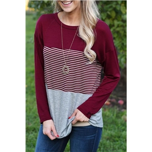 Burgundy Striped Casual Shirt