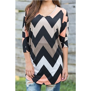 Casual Wave Printed T-shirt