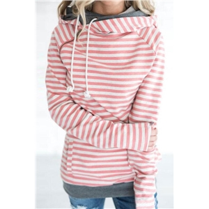 Womens Fashion Stripes Hoodies Jumper