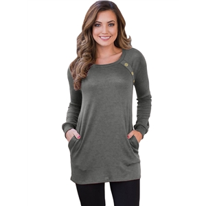 Red Button and Suede Accent Tunic Tee Shirt