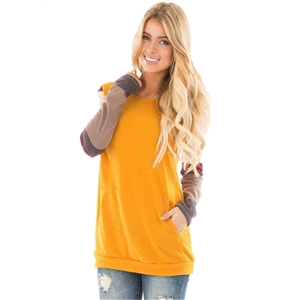 Round Neck Long Sleeve Color Splicing Tee Shirt