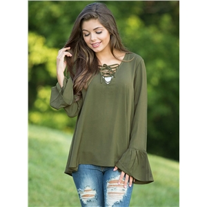 V Neck Flare Sleeve Solid Color Pullover Tee Shirt