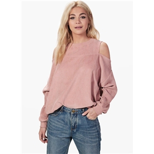 Round Neck Long Sleeve Off Shoulder Sweatshirt