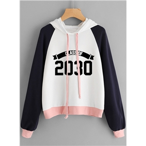 Long Sleeve Color Block Number Printed Hoodie