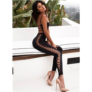 Spaghetti Strap Backless Lace-up Jumpsuit