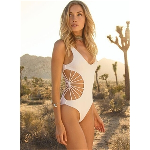 Hollow Out Solid Color One Piece Swimwear