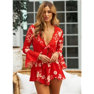 V Neck Flare Sleeve Printed Jumpsuit