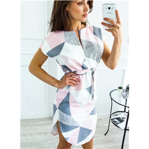 V Neck Short Sleeve Irregular Design Dress