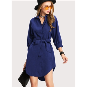 Turn Down Collar Long Sleeve Solid Color Dress