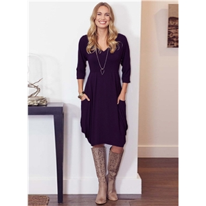 V Neck Solid Color 3/4 Sleeve Ruffle Dress with Pockets