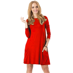 Round Neck Long Sleeve Solid Color Dress with Pocket