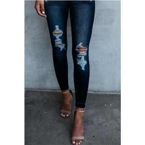 Ripped Detail High Rise Pocket Jeans