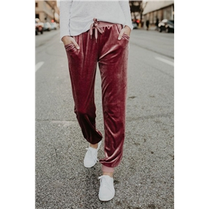 Drawstring Waist Pocket Velvet Pants