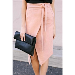 Front Slit Zipper Back Asymmetric Skirt