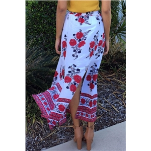 Double Slit Flower Print Bohemia Skirt