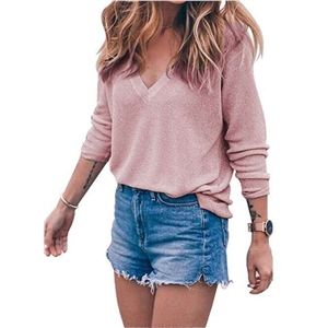 V Neck Long Sleeve Loose Knit Pullover Sweater