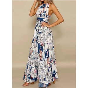 Halter Neck Sleeveless Floral Printed Maxi Dress