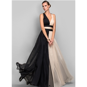 Depp V Neck Sleeveless Color Splicing Prom Dress