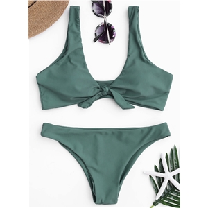 Deep V Neck Sleeveless Solid Color Two pieces Bikini Swimwear
