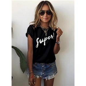 Round Neck Short Sleeve Letters Printed Pullover Tee Shirt