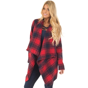 Fashion Loose Fit Open front Plaid Cardigan