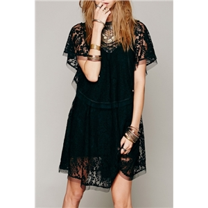Chic Lace Paneled Lace-up Front Dress