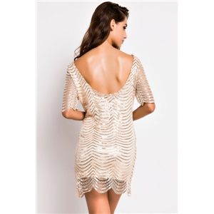 Sexy Golden Sequin Crochet Lace Dress