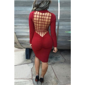 Weaved Scoop Back Mock Neck Body-con Dress