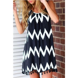 Bold Contrast Chevron Print Mini Dress