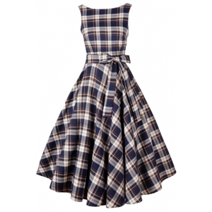 Vintage Tartan Print V Back Midi Dress