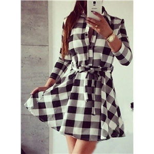 Long Sleeve Plaid Shirt Dress with Belt