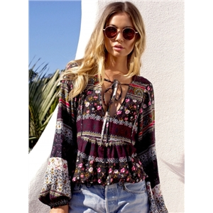 Glamour Bohemia Long Sleeve V Neck Blouse