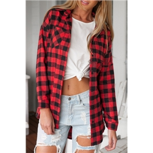 Red Tartan Plaid Print Button Down Shirt