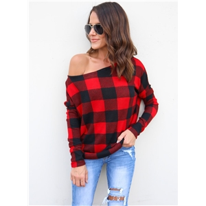 Scoop Neck Long Sleeve Plaid Tee Shirt