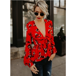 Deep V Neck Long Sleeve Floral Printed Peplum Blouse