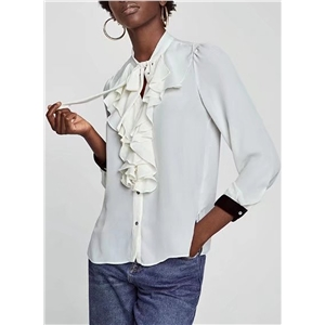 Long Sleeve Splicing Button Down Blouse