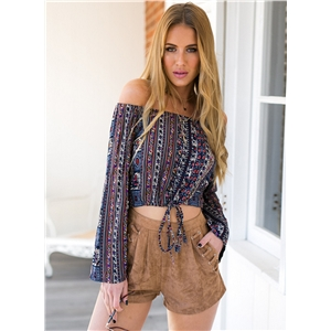 Off Shoulder Flare Sleeve Tribal Print Cropped Blouse
