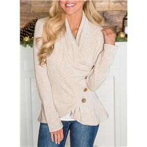 V Neck Long Sleeve Solid Color Buttons Decoration Tee