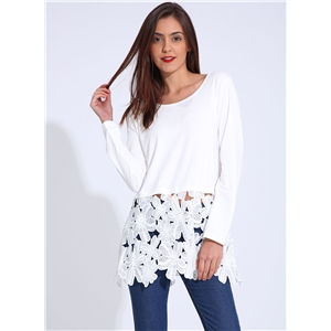 Casual Long Sleeve Lace Panel Pullover Tee